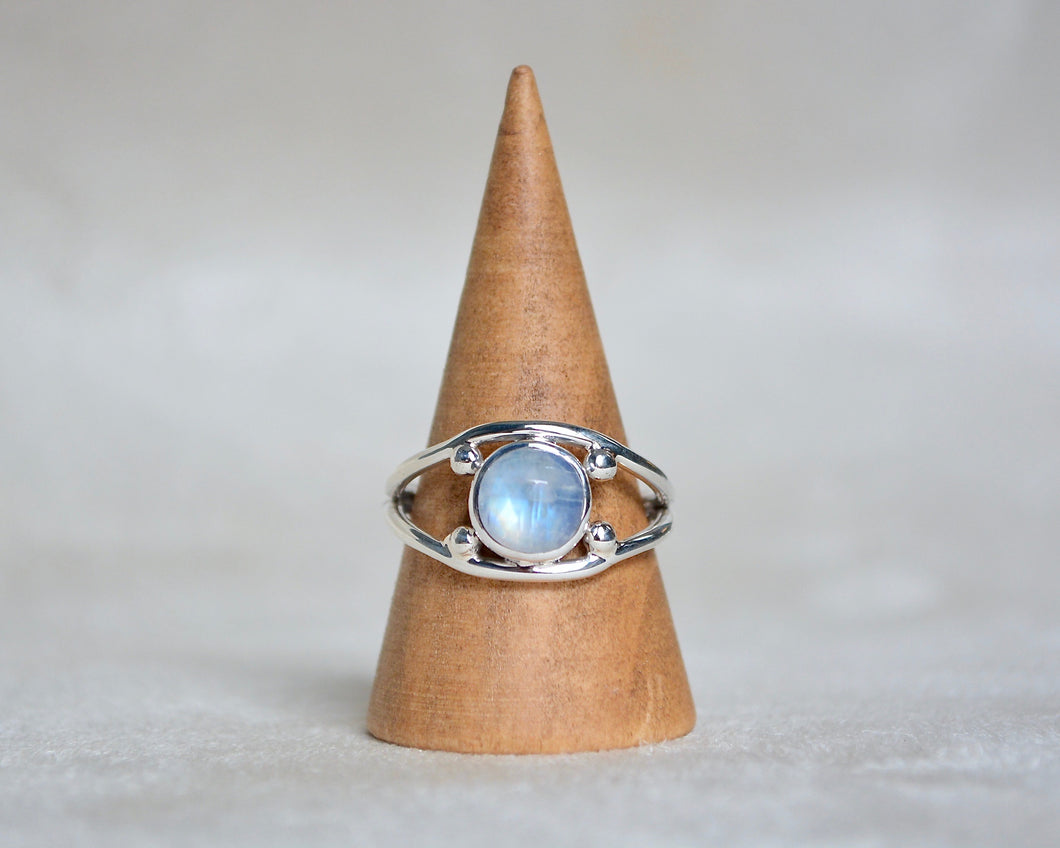 Rainbow Moonstone Four Point Ring Size 8.25