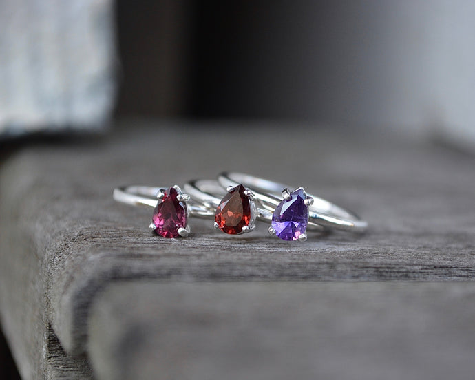 Faceted Birthstone Gemstone Rings