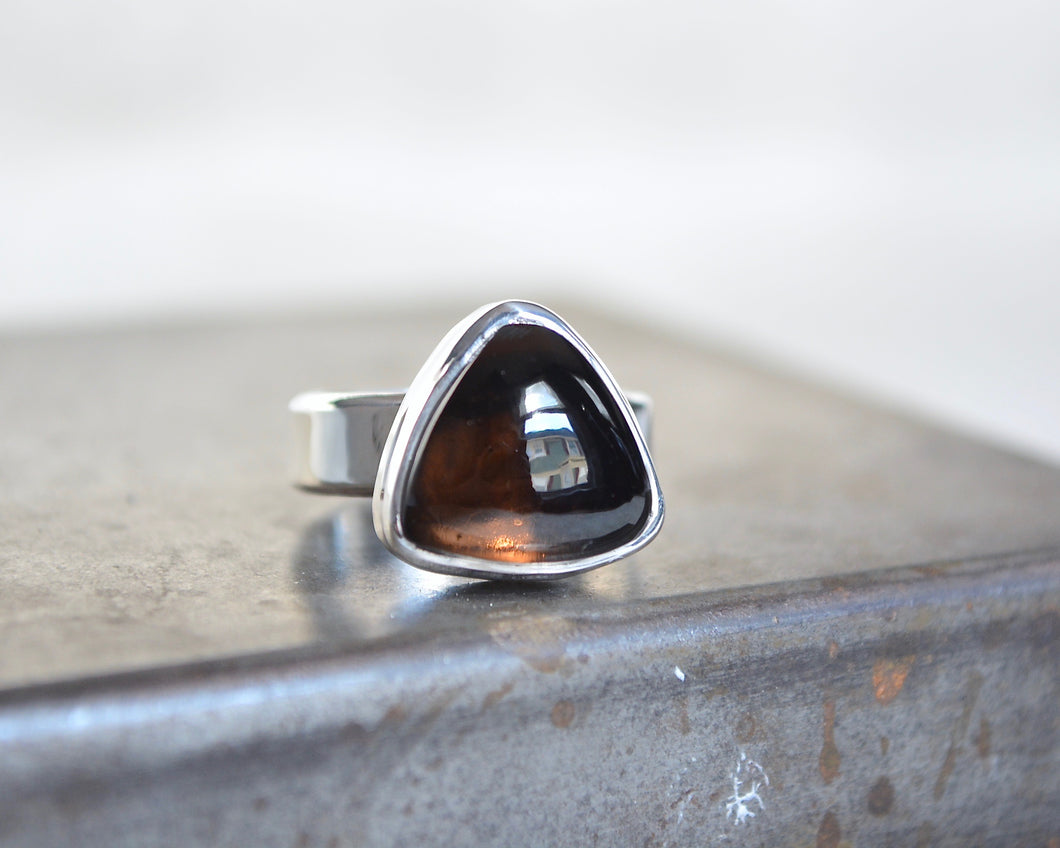 Smokey Quartz Trillion Ring // Size 6.75