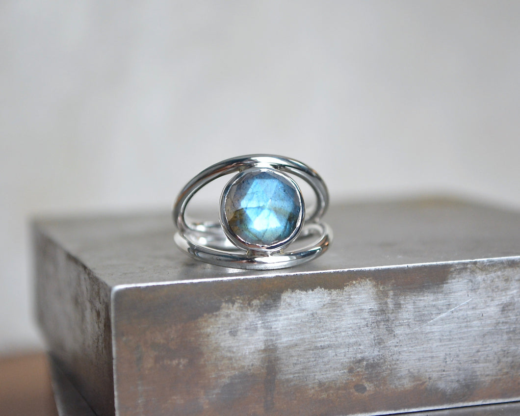 Labradorite Double Band Ring Size 6