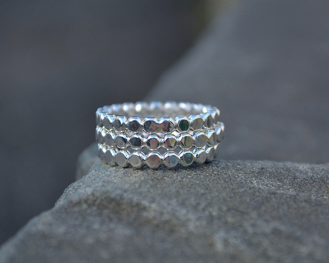 Flat Beaded Stacking Rings