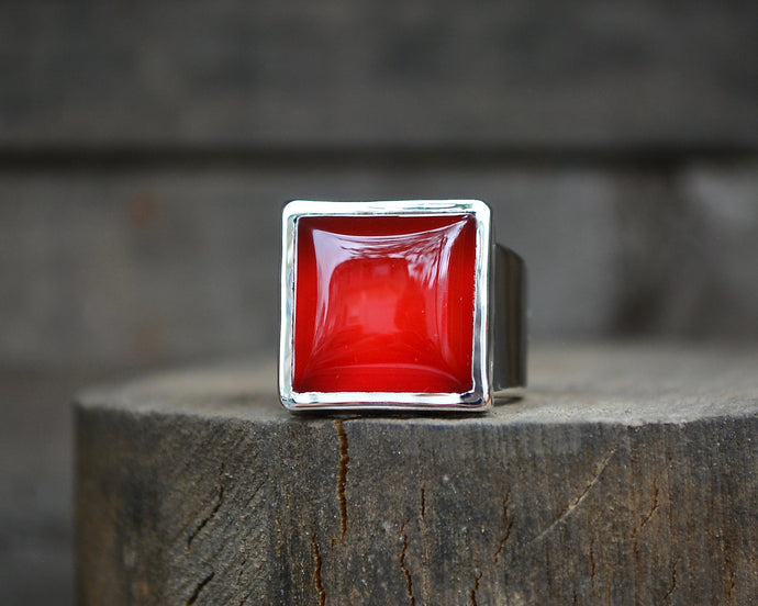 Carnelian Square Ring // Size 7.75