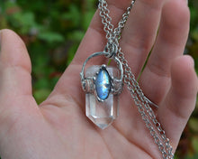 Clear Quartz Point Moonstone Necklace