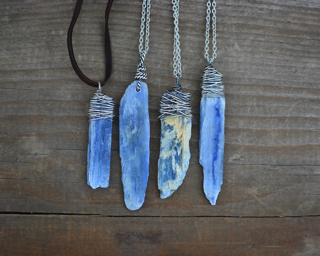 Raw Kyanite Wire Wrapped Necklaces