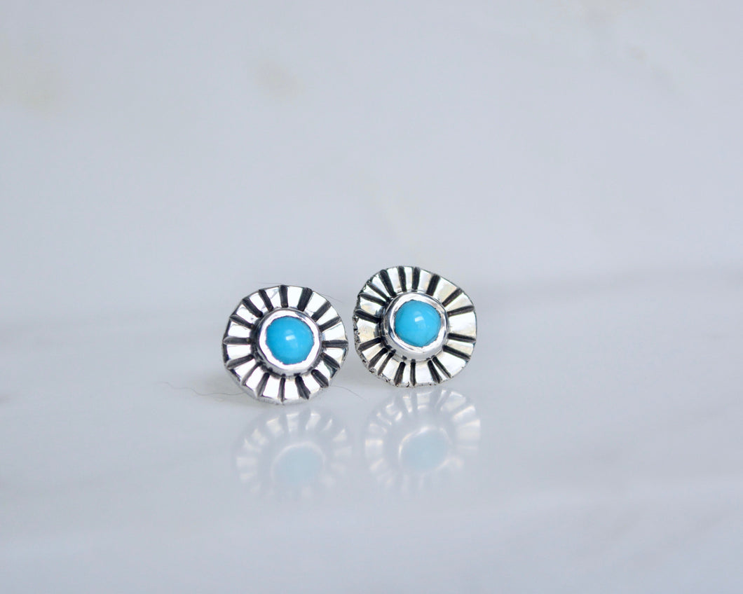 Turquoise Sunburst Post Earrings