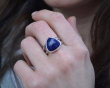Lapis Double Band Trillion Ring // Size 7