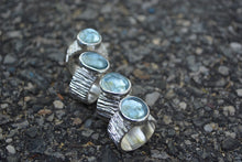 Aquamarine Bark Band Ring // Size 7.25