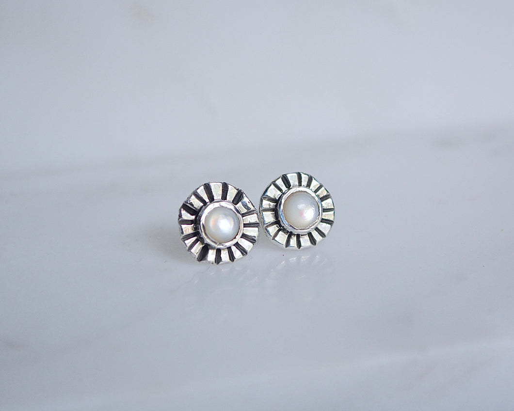 Mother of Pearl Sunburst Earrings