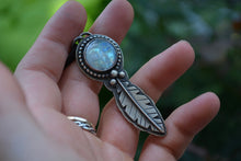Man in moonstone Feather Necklace