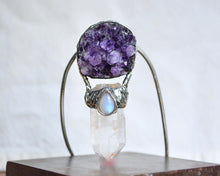 Raw Amethyst Moonstone Point Necklace