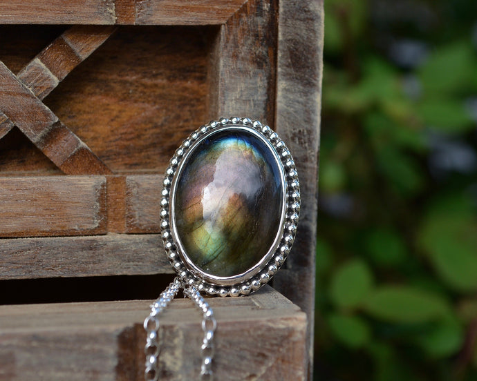 Labradorite Beaded Border Necklace
