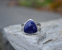 lapis lazuli trillion handmade ring floral double band size 7