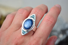 Kyanite Inlay Dagger Ring // Size 7.25
