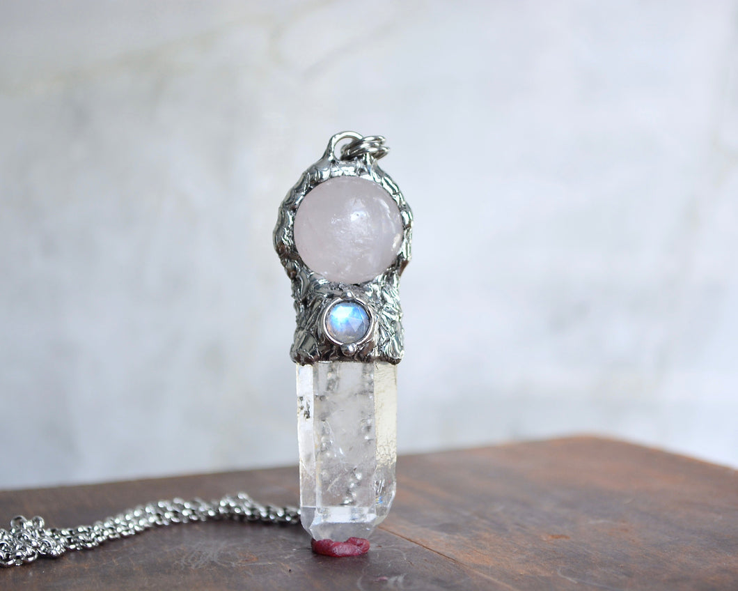 Rose Quartz & Moonstone Crystal Wand