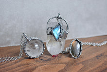 Clear Quartz Labradorite Large Crystal Pendant