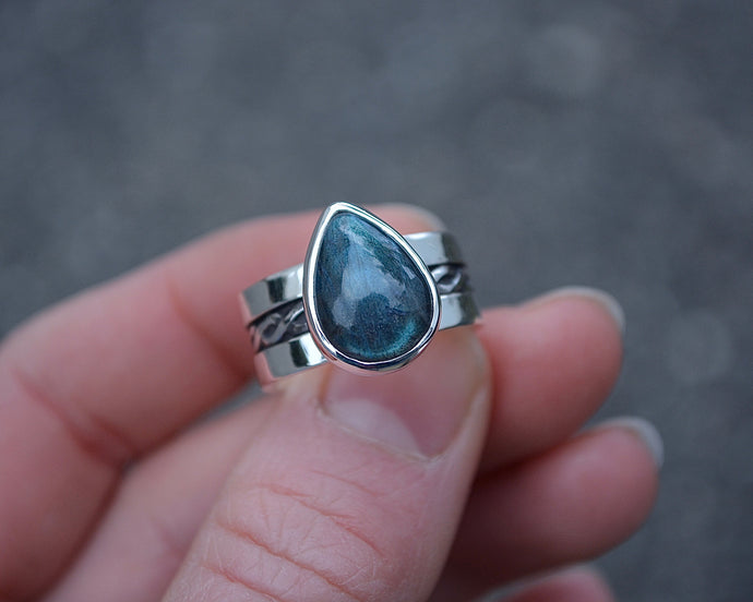 Labradorite Braided Wide Band Ring // Size 7.25