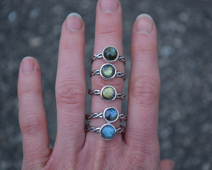 Labradorite Braided Stacking Rings