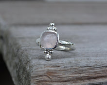 Rose Quartz Trilogy Ring // Size 6.25