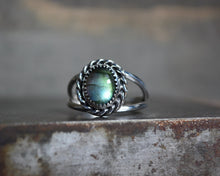 Labradorite Roped Double Band Ring