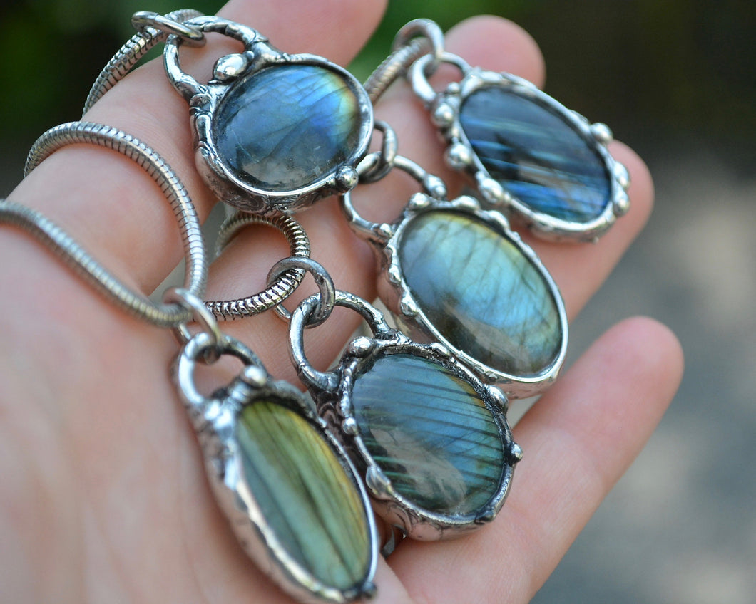 Labradorite Droplet Necklace
