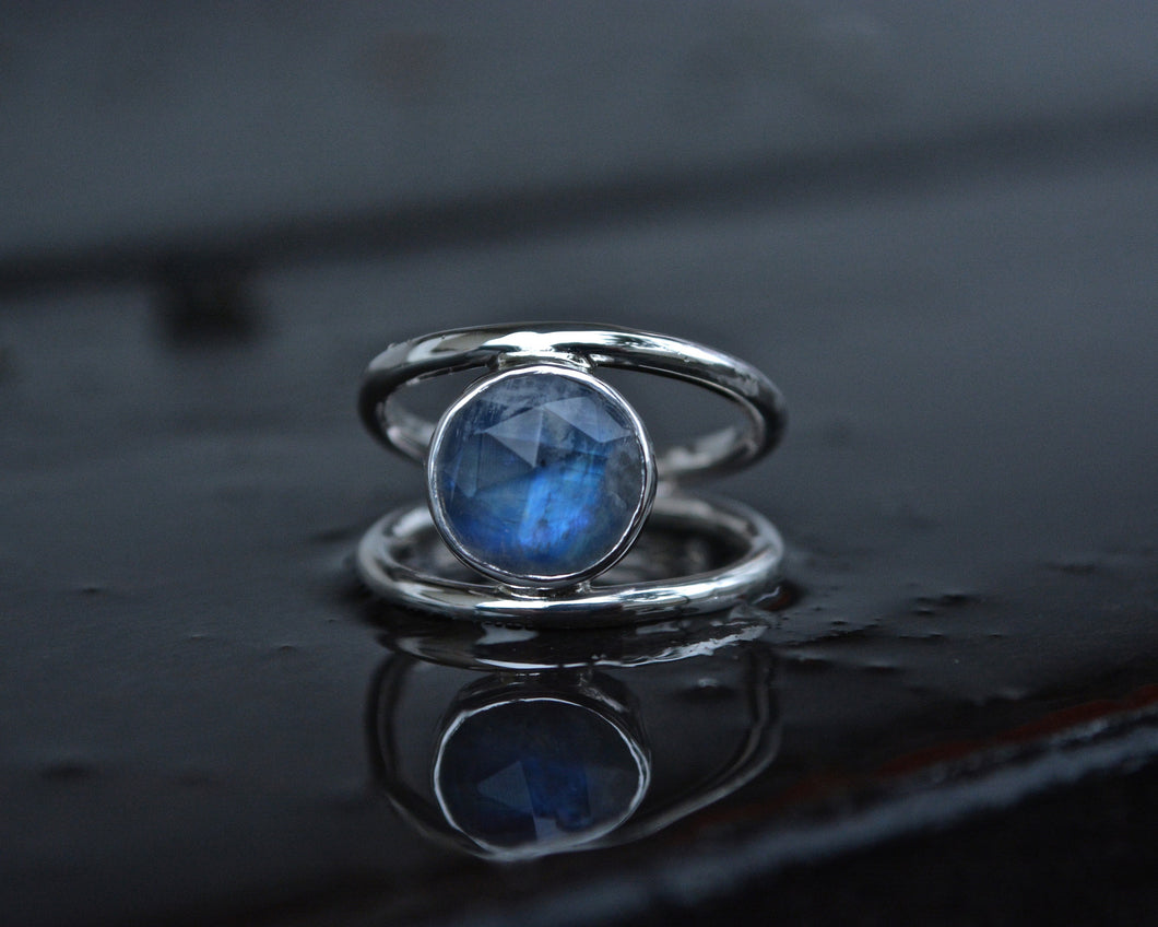 Rainbow Moonstone Double Banded Ring Size 7.25