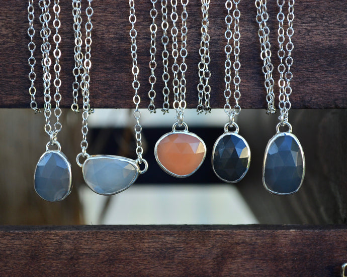 Sale - Rose Cut Moonstone Necklaces