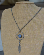 Man in Moonstone Feather Balance Necklace