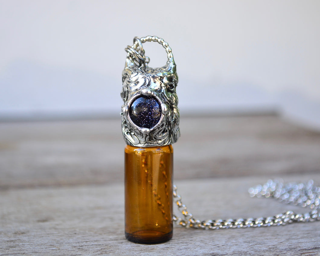 Blue Goldstone Rollerball Necklace