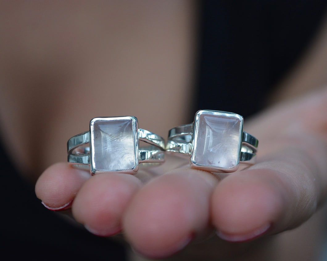 Rose Quartz Boxed Out Rings