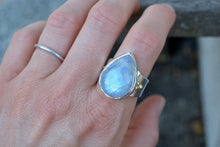 Rainbow Moonstone 14K Armor Ring Size 8.25-8.5