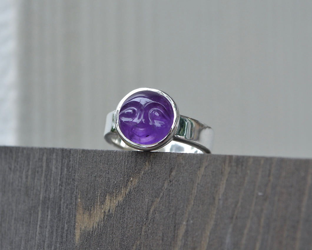Amethyst Man in the Moon Ring