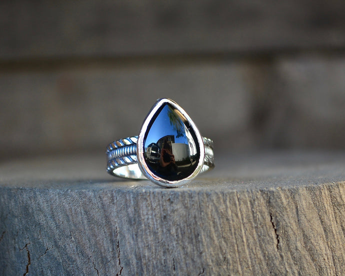 Black Onyx Ring // Teardrop // Made to Order
