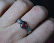 Faceted Garnet Floral Band Ring