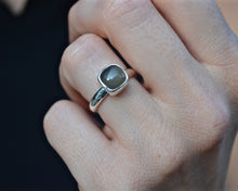 Cushion Cut Grey Moonstone Ring