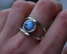 Rainbow Moonstone Double Banded Ring Size 8