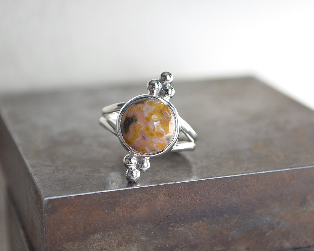 Ocean Jasper Trilogy Ring // Size 7.75