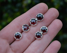 Garnet Scalloped Post Earrings