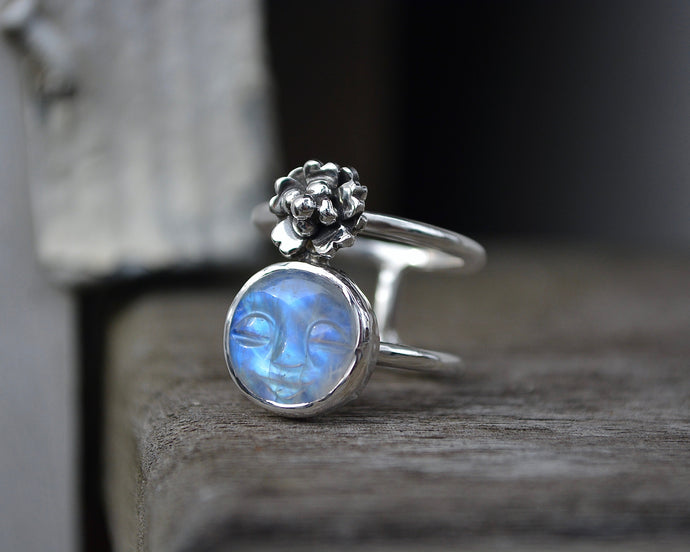 Moonstone Cherry Blossom Ring // Size 6.75