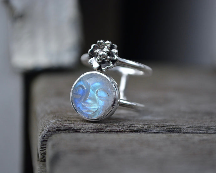 Moonstone Cherry Blossom Ring // Size 7