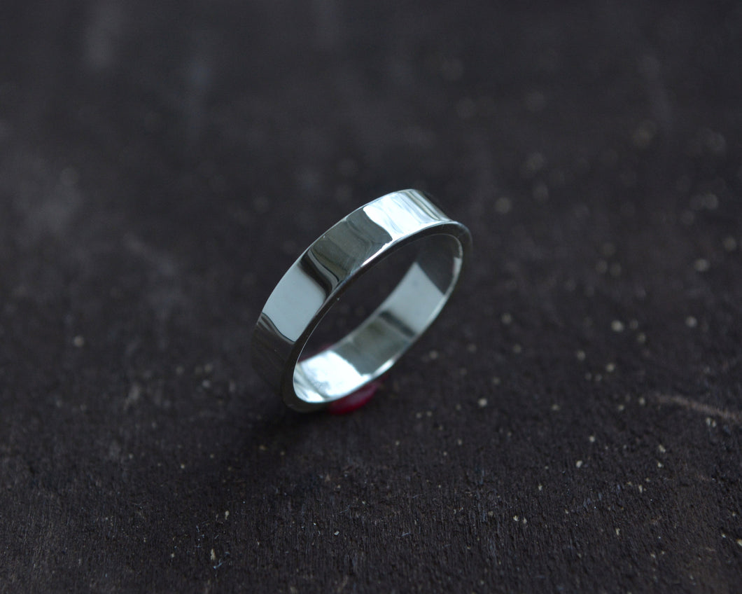 Medium Flat Sterling Silver Band