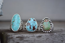 Turquoise 14K Bezel Bark Band Ring // Size 7.5