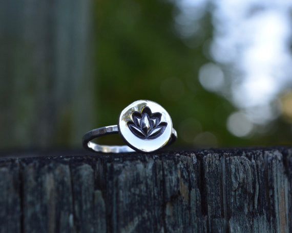 Lotus stacking ring. Handmade sterling silver lotus ring. yoga jewelry featuring sterling silver stacking ring.