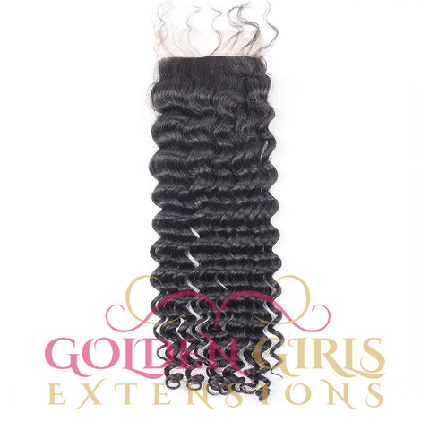 Malaysian Virgin Hair Curly Lace Closure With Baby Hair Bleached Knots