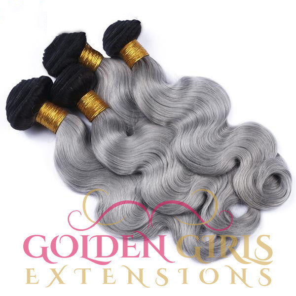 1B | Grey | Ombre | Human Hair Extensions