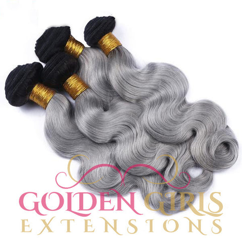 1B/ Grey Ombre Human Hair Extensions