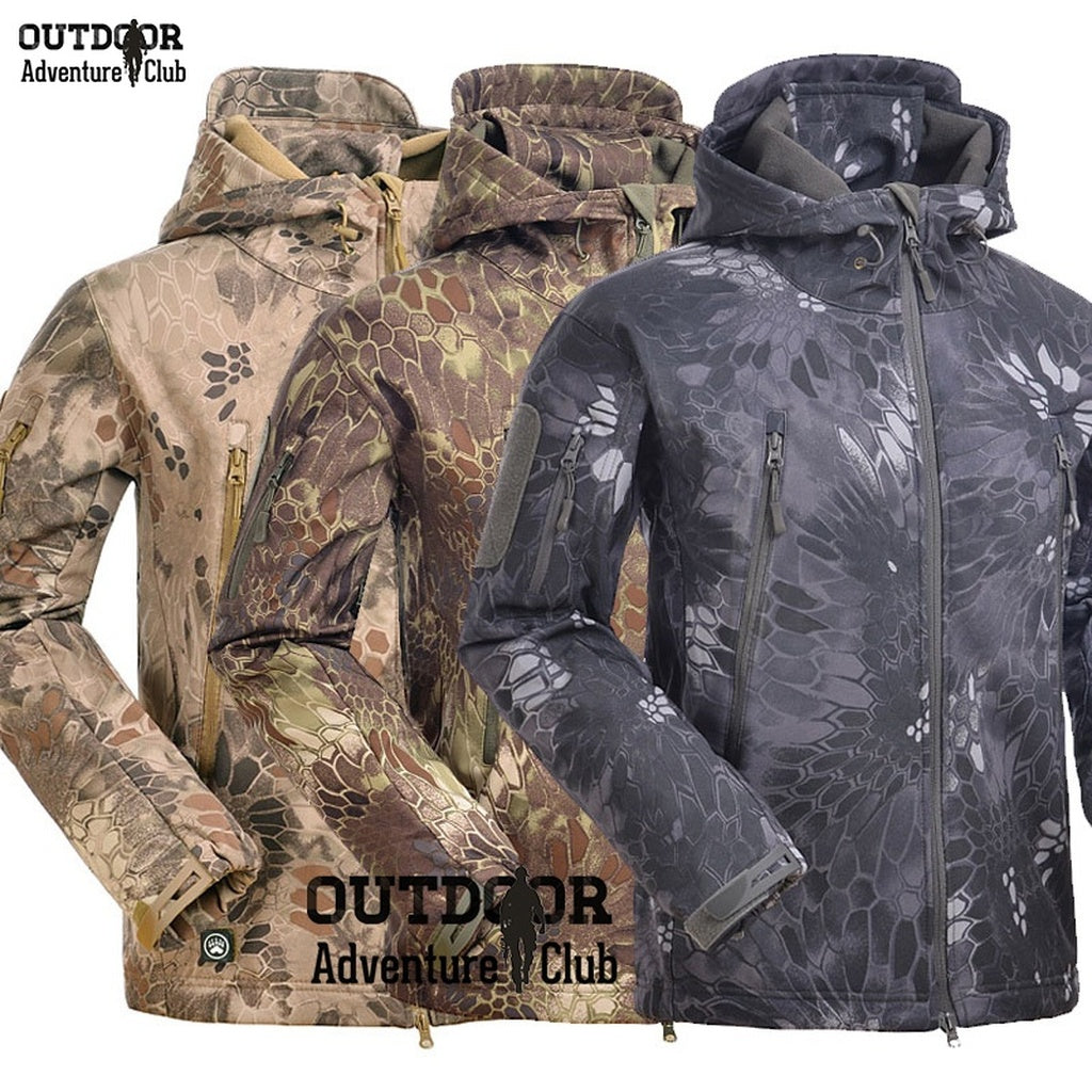 717f47d05d3a3 Tactical Long Sleeve Snake Camouflage Army Jacket Mens Military Shark V4.5  Waterproof Soft Shell ...