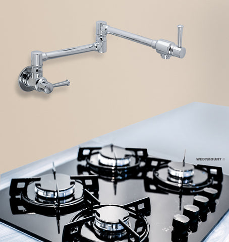 ADDISON CHROME FINISH |  Double lever, Solid Brass, Swinging, Wall Mounted Pot Filler - Westmount Waterworks