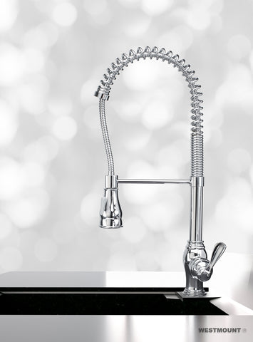CHLOE CHROME FINISHED |  Single Lever Pull Down Kitchen Faucet - Westmount Waterworks