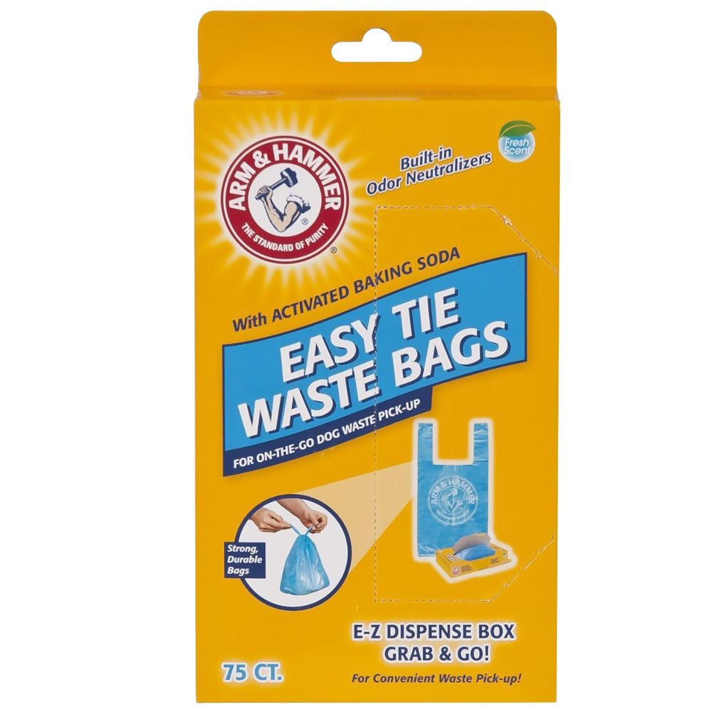 Arm and Hammer Easy-Tie Waste Bags 75 count: Petmate Arm and Hammer Easy-Tie Waste Bags 75 count Blue 1.5