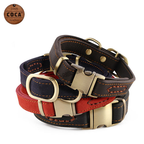 2016 COCA Brand Genuine Leather Adjustable Pet Dog Collar with Zinc Alloy Buckle  Small Large Dogs Supplies Red Blue Collars